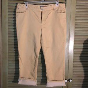 J. Jill crop jeans in soft yellow size 16